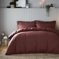 Soft & Cosy Luxury Brushed Cotton Claret Duvet Cover and Pillowcase Set Red