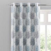Jacquard Trees Teal Eyelet Curtains Grey and Blue