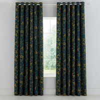 Clarissa Hulse Goosegrass Blue Lined Eyelet Curtains Blue and Yellow