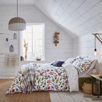 Joules Cambridge Garden 100% Cotton Duvet Cover and Pillowcase Set White, Blue and Green