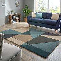 Harper Wool Rug Blue, Brown and Black