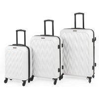 Constellation Matt White Chevron Hard 4 Wheel Suitcase White