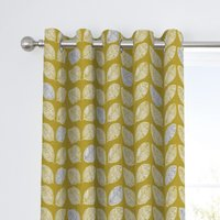 Fusion Delft Ochre Eyelet Curtains Yellow, Grey and White