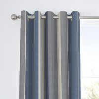 Fusion Whitworth Striped Blue Eyelet Curtains Blue, Grey and Cream