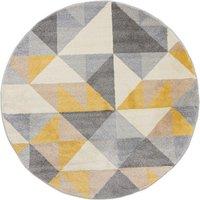 Geo Squares Circle Rug Yellow, Pink and Grey