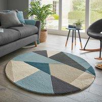 Harper Wool Circle Rug Blue, Beige and Grey