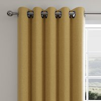 Cloudmont Chenille Ochre Thermal Eyelet Curtains Ochre