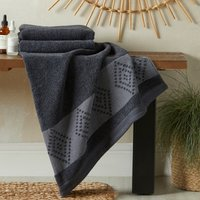 Geometric Border Anti Bacterial Charcoal Bath Towel Charcoal (Grey)