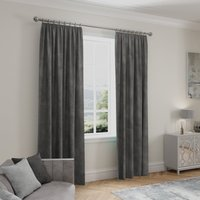 Stellar Thermal Charcoal Pencil Pleat Curtains Charcoal