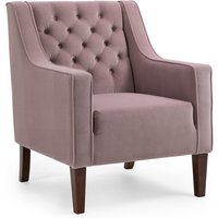 Isabel Velvet Chesterfield Armchair Blush