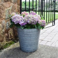 Set of 2 Ribbed Galvanised Planters Blue