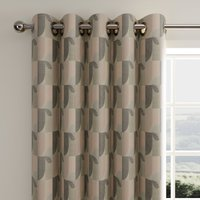 Abstract Geo Blush Eyelet Curtains Blush and Brown