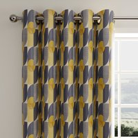 Abstract Geo Navy Eyelet Curtains Navy Blue, Yellow and White