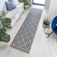 Indoor Outdoor Moretti Runner Blue and Grey