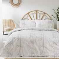 The Linen Yard Bamboo Grey 100% Cotton Duvet Cover and Pillowcase Set Grey