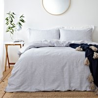 The Linen Yard Signature Hazzy Blue 100% Cotton Duvet Cover and Pillowcase Set Blue and White