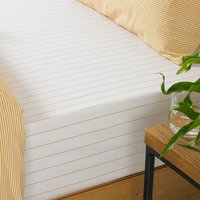 The Linen Yard Holbury Ochre Stripe 100% Cotton Fitted Sheet Yellow and White