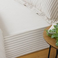 The Linen Yard Hebden Natural Stripe 100% Cotton Fitted Sheet Cream