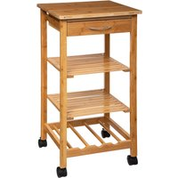 image-White Bamboo Kitchen Trolley Natural
