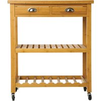 image-Double Bamboo Kitchen Trolley Natural