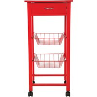 image-Single Red Kitchen Trolley Red