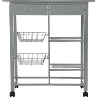 image-Double Grey Kitchen Trolley Grey