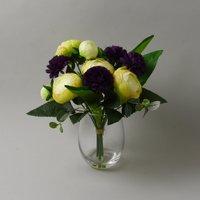 image-Ranunulus Carnation Glass Vase Purple 26cm Purple