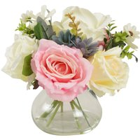 image-Rose and Daisies Glass Vase Pink 26cm Pink