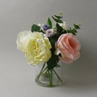 image-Roses in Glass Vase Cream 30cm Cream