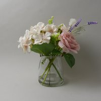 image-Rose and Hydrangea in Glass Vase Pink 24cm Pink