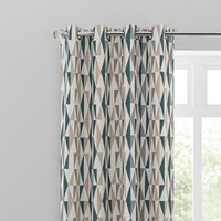 Elements Triangles Peacock Eyelet Curtains White, Green and Brown