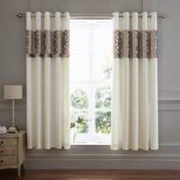 Catherine Lansfield Natural Lattice Cut Velvet Eyelet Curtains Natural
