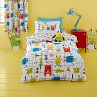 Cosatto Monster Mob 100% Cotton Duvet Cover and Pillowcase Set White