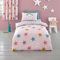 Cosatto Happy Stars 100% Cotton Duvet Cover and Pillowcase Set Pink, Yellow and White