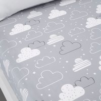 Cosatto Fairy Clouds 100% Cotton Fitted Sheet Twin Pack White and Grey