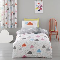 Cosatto Fairy Clouds 100% Cotton Duvet Cover and Pillowcase Set White, Blue and Pink