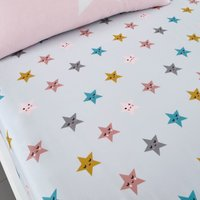 Cosatto Happy Stars 100% Cotton Fitted Sheet Twin Pack Pink