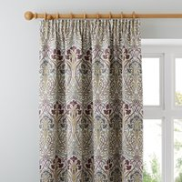 Lucetta Mauve Pencil Pleat Curtains Purple, Green and Yellow