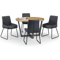 Brooklyn Round Dining Table with 4 Soho Chairs Oak