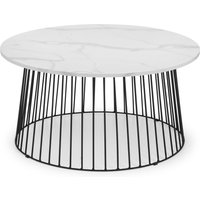 image-Broadway Round White Marble Coffee Table White