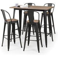 image-Grafton Bar Set with 4 Stools Black