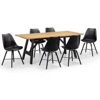 Hockley Dining Table with 6 Kari Chairs Black