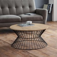 image-Jersey Round Wire Coffee Table Oak