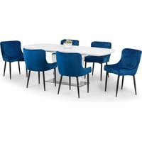 Como Dining Table with 6 Luxe Blue Chairs Blue and White