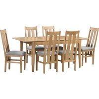 Cotswold Extending Dining Table with 6 Chairs Brown