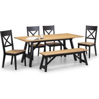 Hockley Dining Table, Bench and 4 Chairs Black