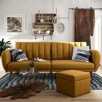 Brittany Linen Sofa Bed Mustard