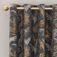 Palm Charcoal Eyelet Curtains Charcoal and Beige