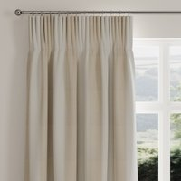 Stitch Panel Natural Pencil Pleat Curtains Brown and White
