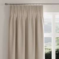 Stitch Lines Natural Pencil Pleat Curtains Brown